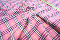 "Plaid Woven Cotton Fabric 44""W - Pink Black White Yellow"