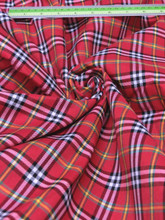 "Plaid Tartan Woven Cotton Fabric 44""W - Red White"