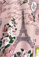 "Paris Rosette Print 100% Cotton Fabric 44""W - Dusty Pink"