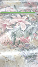 "Ivory Pink Green Floral Lily Faux Silk Satin 48""W Fabric"