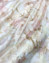 "Ivory Coral Floral Lily Faux Silk Satin 48""W Fabric"