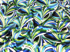 "Neo Palm Green-Black Faux Silk Satin 48""W Fabric"