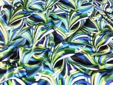 "Neo Palm Green-Black Faux Silk Satin 48""W Fabric"