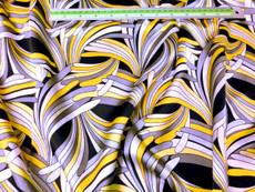 "Neo Palm Yellow-Gray-Black Faux Silk Satin 48""W Fabric"