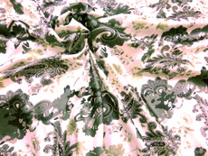 "Paisley Faux Silk Satin 48""W Fabric - Ivory Green Gray"