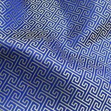 Swirl Wind Oriental Pattern Brocade Faux Silk Shantung - Blue Silver