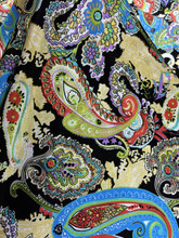 "Colorful Paisley Faux Silk Satin 48""W Fabric - Black"