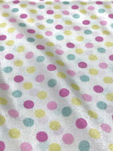 "Multi Color Polka Dot Faux Silk Satin 48""W Fabric - Ivory Pink Blue"