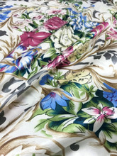 "Floral Colorful Roses Faux Silk Satin 48""W Fabric - IVORY"