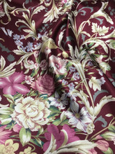Floral Colorful Roses Faux Silk Satin Fabric - Dark Red