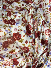 "Floral Roses Ivory-Burgundy Faux Silk Satin 48""W Fabric"