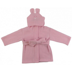 Baby Robe - Pink Polyester Fleece with Rabbit Ears Hoodie