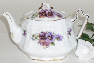 Pansy 3 cup Victorian porcelain teapot by