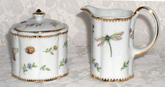 Primavera  4-1/2 inch porcelain cream and sugar set.