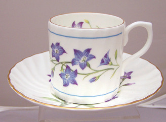 Heirloom 'Vintage Violets' Set of Four English Bone China 4 oz  Cup and Saucer