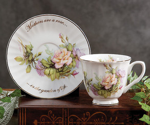 """Mothers Are A Rose"" 5 oz  Gift Boxed English Bone China Cup and Saucer"
