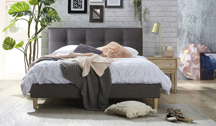 Affordable Grey Fabric Queen Size Bed With Tufted Buttoned