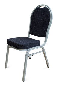 Round Back Steel Banqueting Chairs. Black with Silver Frame