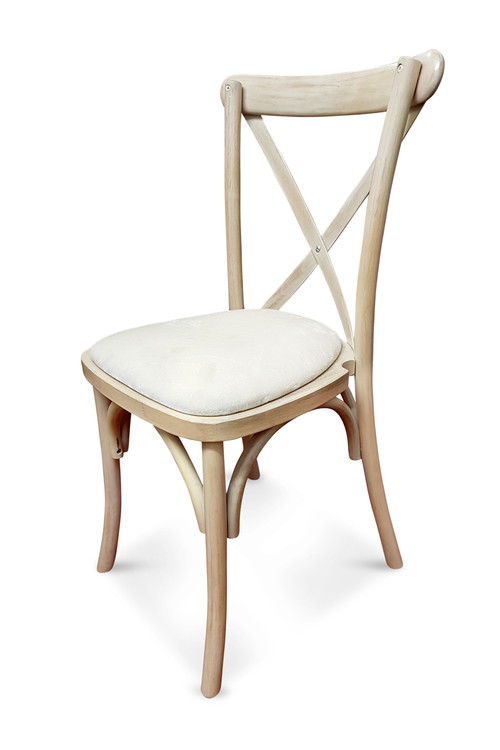 Superieur Limewash Cross Back Chair With White Ivory Seat Pad