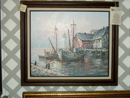 Ships At Harbor Original Oil Painting by Max Savy