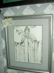 Girl on Gate Original Pencil Drawing by Ann Marie Batist