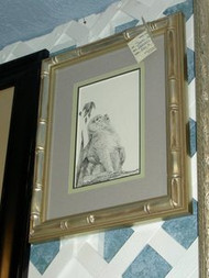 Baboon Framed Original Pen & Ink Drawing by Sheri Howe