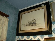 Locomotive Framed Original Pen & Ink Drawing by T Rays