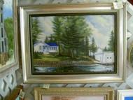 Cottage On Island Lake Original Oil Painting by J. W. Rajala