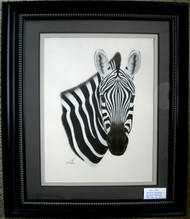 Zebra Framed Original Pastel Drawing by the Porter Family