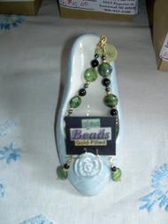 Bracelet and Earring Set Green Glass w/Black Beads by Shannon Greiczek