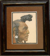 Black Foot Indian Original Pastel Drawing by the Porter Family Framed