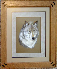 Framed Original Pastel Drawing Gray Wolf vignette