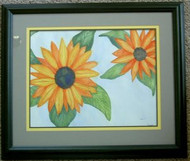 Sunflowers Framed Watercolor by Deanna Swartz