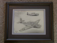 Two War Planes Framed Pencil Drawing by William McKie