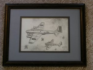 War Planes Framed Pencil Drawing by William McKie