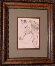 Framed Quarter Horse Drawing by Michelle Stuart