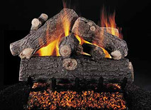 "Double Face Prestige Oak 24"" set size on FX burner by Rasmussen Gas Logs"
