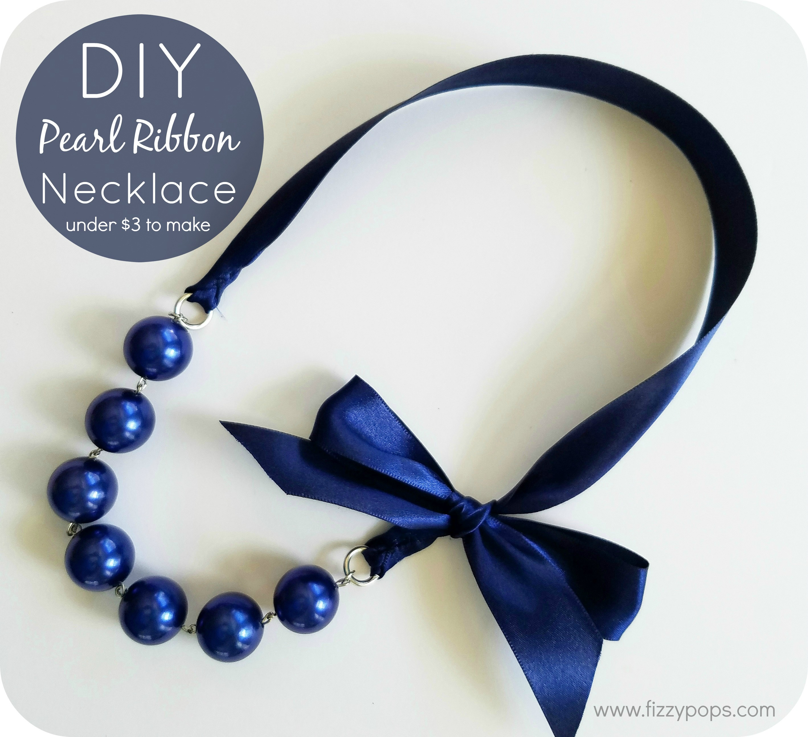 Diy Pearl Ribbon Necklace Tutorials 2 Styles Fizzy Pops