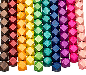 Colored Geometric Wooden Beads 15mm