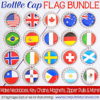 "World Flags 1"" Bottle Cap Images Printable DOWNLOAD"