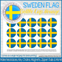 "Sweden FLAG 1"" Bottle Cap Images Printable DOWNLOAD"