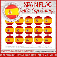 "Spain FLAG 1"" Bottle Cap Images Printable DOWNLOAD"