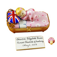 Princess Charlotte Of Cambridge Sleeping - Includes Plaque And Pacifier Rochard Limoges Box