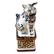 Foo Dog Blue/White/Gold Rochard Limoges Box