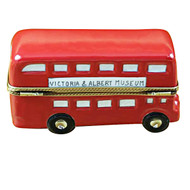 London Double Decker Bus W/Removable Ticket Rochard Limoges Box