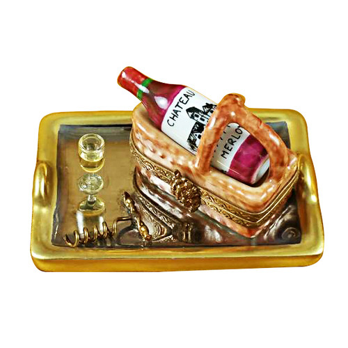 Tray W/Wine Tasting Basket Rochard Limoges Box