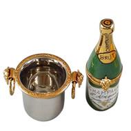 Champagne Bottle In Silver Bucket Rochard Limoges Box