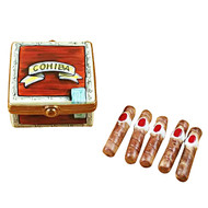Cigar Box With Removable Cigars Rochard Limoges Box