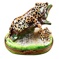 Limoges Imports Panther On Tree Limoges Box