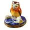 Limoges Imports Barn Owl On Blue Base Limoges Box